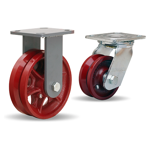Hamilton 5x2 V-Grooved Iron Wheel Swivel Caster